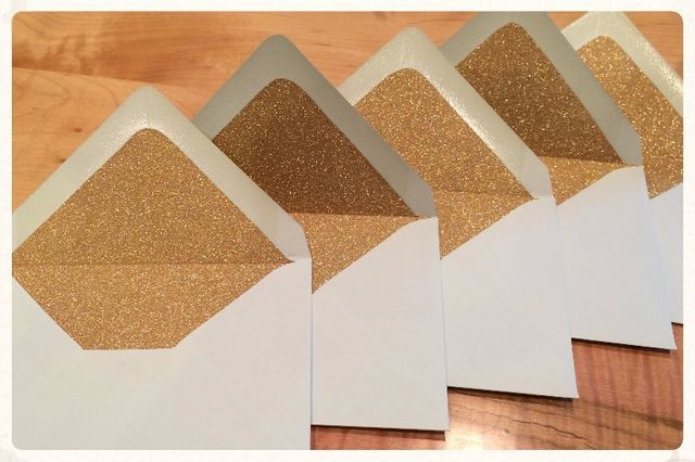 Relax Event Studio crafted these mint & gold custom envelopes.  Swoon!