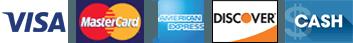 Visa, Mastercard, American Express, Discover, Cash,