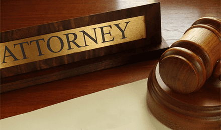 Attorney nameplate and gavel