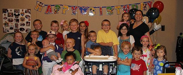 Kids participating at birthday party