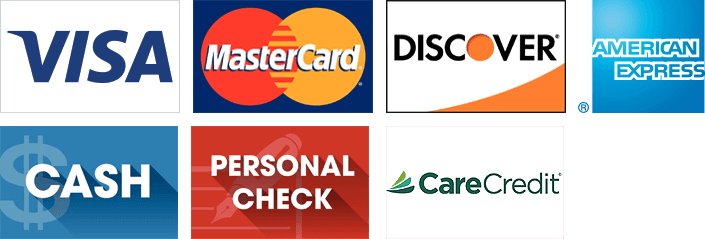 Visa, MasterCard, Discover, American Express, Cash, Personal Check and CareCredit