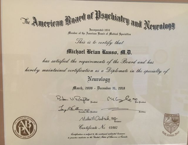 Dr. Russo Certificate