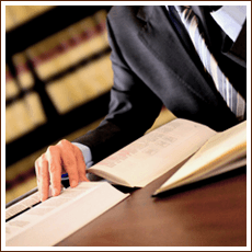 Attorney with law books