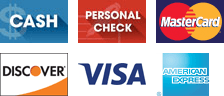 Cash, Personal Check, Master Card, Discover, Visa, American Express - Logos