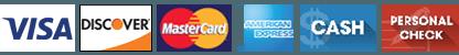 visa, discover, mastercard, american express, cash, personal check