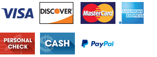 Visa, Mastercard, Discover, American Express, Cash, Personal Check and Paypal
