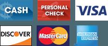 Cash, Personal Check, Visa, Discover, MasterCard, American Express