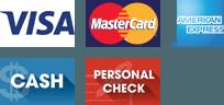 VISA, Mastercard, American Express, Cash, Personal check
