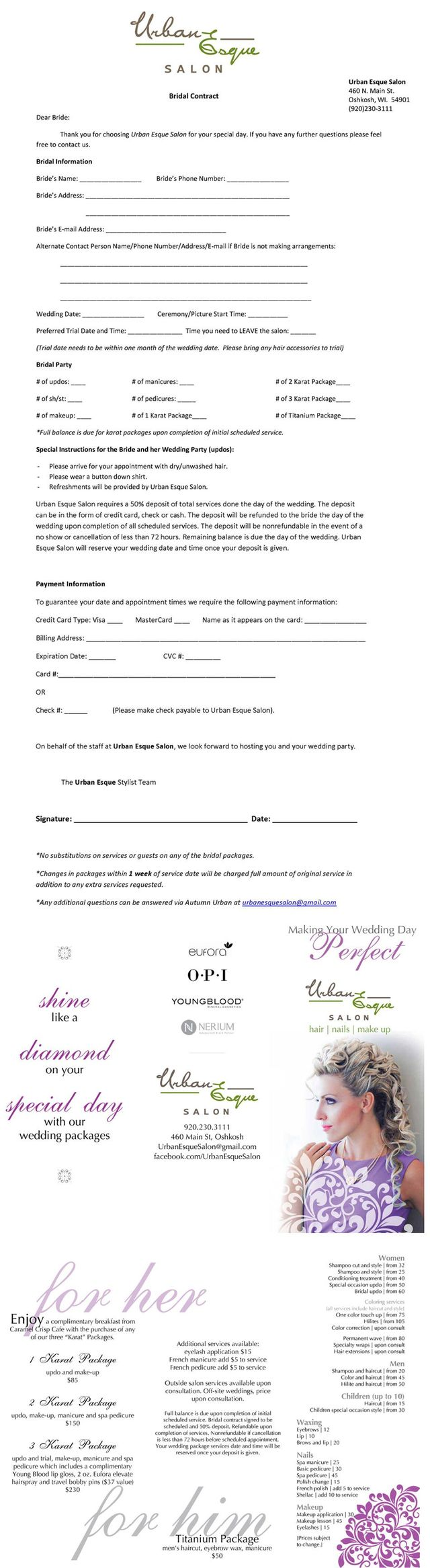 Bridal contract form