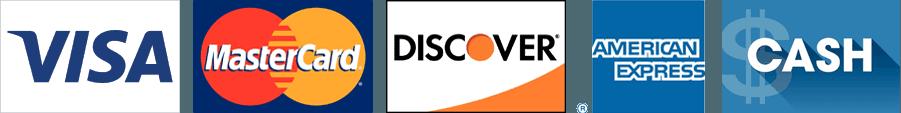 Visa, MasterCard, Discover, AmEx, Cash logos