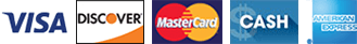 Visa, Discover, Master Card, Cash, American Express