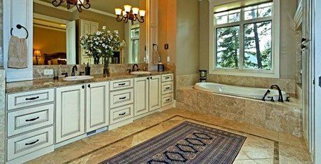 Bathroom countertops and marble tiles