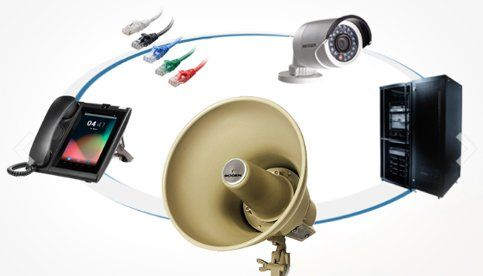 Telephone, Speaker system, Server, CCTV and cable