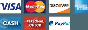 VISA, Mastercard, Discover, American Express, Cash, Personal Check, Paypal