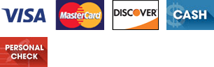 Visa, MasterCard, Discover, Cash and Personal Check