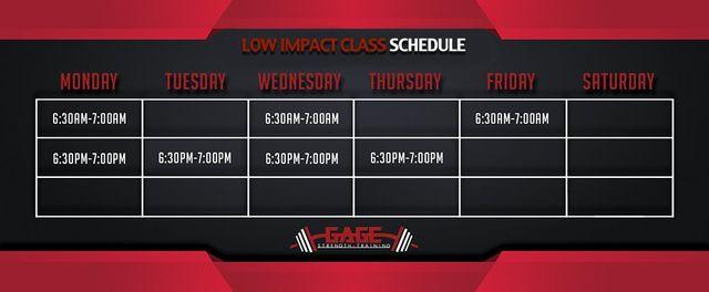 Low Impact Class Schedule