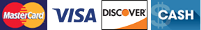 MasterCard, Visa, Discover, Cash