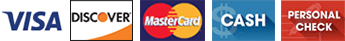 Visa, Discover, Master Card, Cash, Personal Check