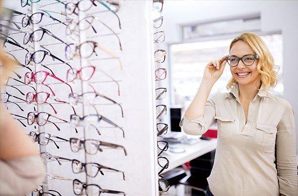 Woman in an eyewear shop