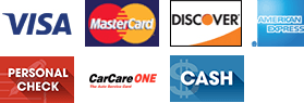 Visa | MasterCard | Discover | American Express | Personal Check | CarCare One | Cash