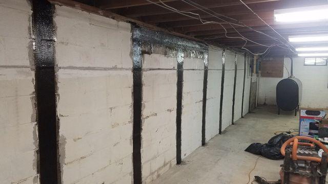 bowed concrete cinder block wall stabilization repair rh rueterfoundationrepair com