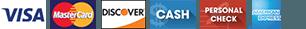 Visa Discover MasterCard Cash Amex Personal Check