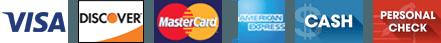 Visa, Discover, Mastercard, American Express, Cash, Check