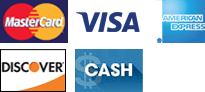 MasterCard, Visa, American Express, Discover, Cash