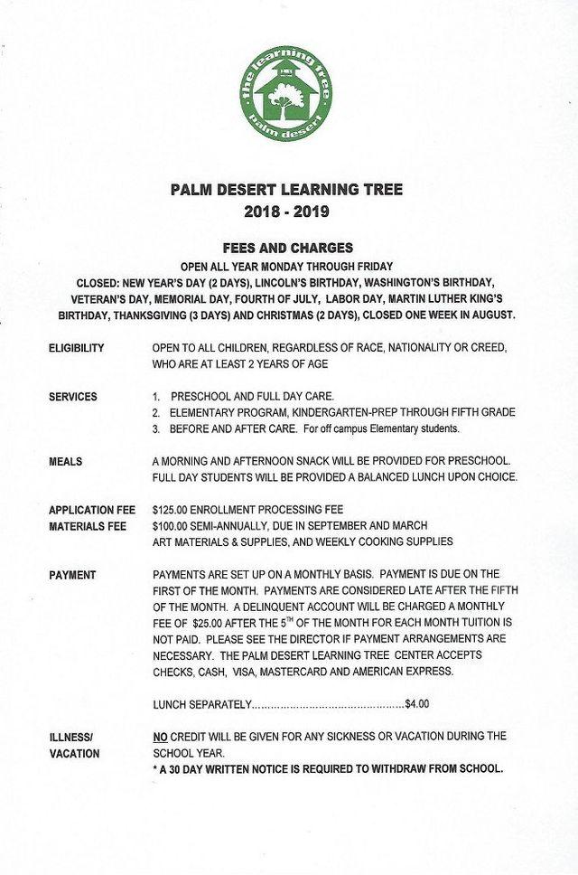 The Palm Desert Learning Tree Center Fees | Palm Desert, CA