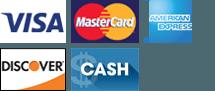 Visa, Mastercard, Amex, Discover, Cash