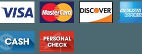 Visa, MasterCard, Discover, American Express, Cash, and Personal Check