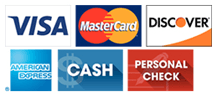 Visa, MasterCard, Discover, American Express, Cash Personal Check