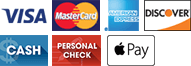 Visa, MasterCard, AmEx, Discover, Cash, Check, Apple Pay