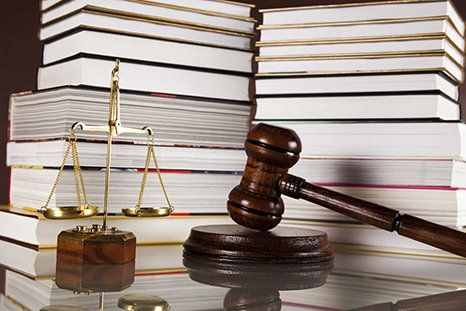 Scale of justice, Gavel and books